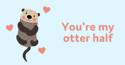 Animal Valentine's Day cards with otter