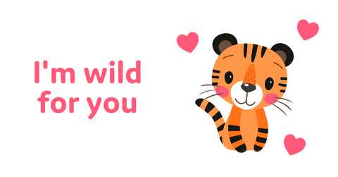 Animal Valentine's Day cards with tiger