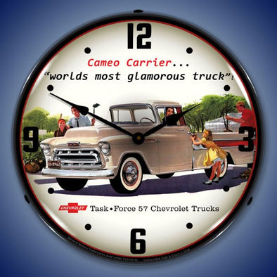 1957 Chevrolet Cameo Truck Lighted Clock