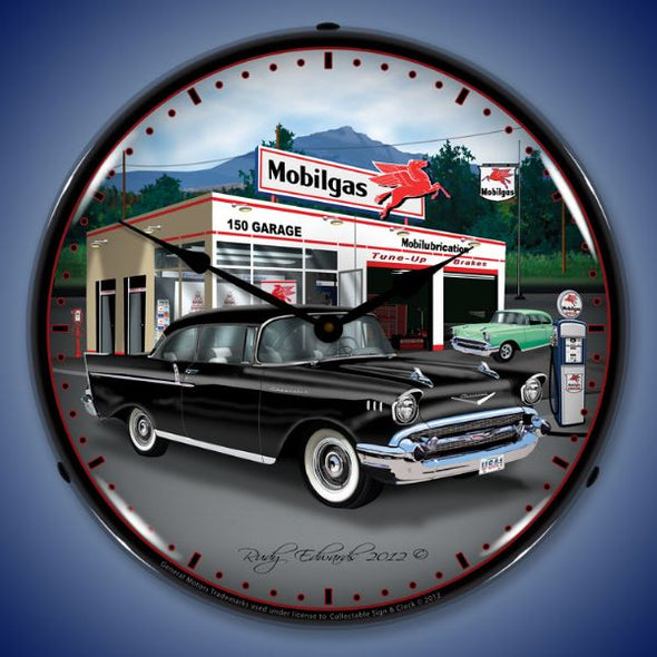 1957 Chevy Mobilgas Lighted Clock