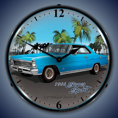 1966 Chevy Nova Lighted Clock | Blue