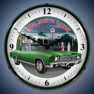 1970 Monte Carlo Green Lighted Clock