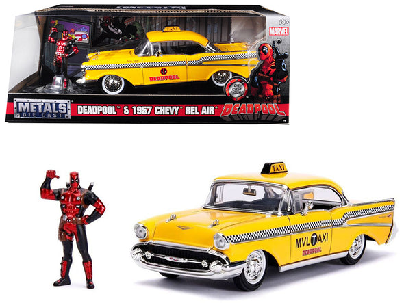1957 Chevrolet Bel Air Taxi Yellow w/ Deadpool Figure Marvel 1/24 Diecast
