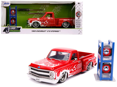 1969 Chevrolet C10 Stepside Pickup Truck Red -White Flames w/ Extra Wheels 1/24 Diecast