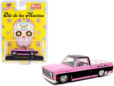 1973 Chevrolet Deluxe 10 Pickup Truck Pink Black Day of the Dead 1/64 Diecast