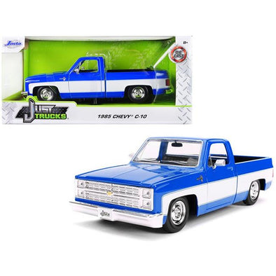 1985 Chevrolet Silverado C-10 Pickup Truck Blue and White 1/24 Diecast