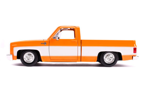 1985 Chevrolet Silverado C-10 Pickup Truck Orange and White 1/24 Diecast
