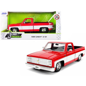 1985 Chevrolet Silverado C-10 Pickup Truck Red and White 1/24 Diecast