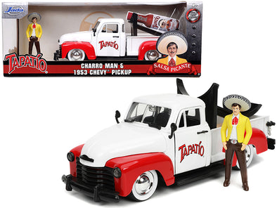 1953 Chevrolet Pickup Truck White/ Red w/ Charro Man Figurine 1/24 Diecast