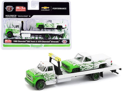 1968 Chevrolet C60 Flatbed Truck/ 1979 Silverado Pickup Truck White Green Flames 1/64 Diecast