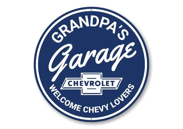 Grandpa's Garage Chevrolet Welcome Chevy Lovers- Aluminum Sign