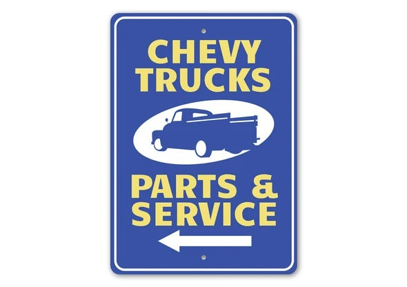 Chevy Trucks Parts & Service Arrow - Aluminum Sign