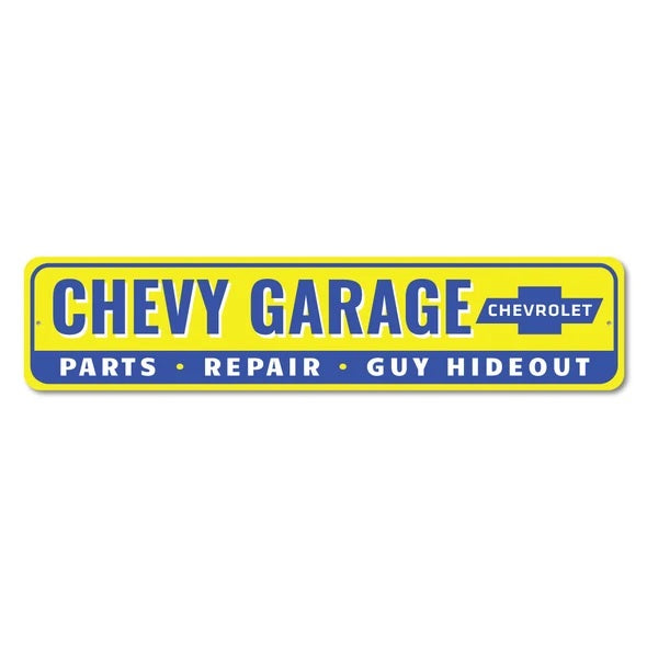 Chevy Garage Guy Hideout - Aluminum Street Sign