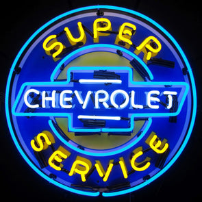 "Super Chevrolet Service 24"" Chevy Neon Sign with Backing"