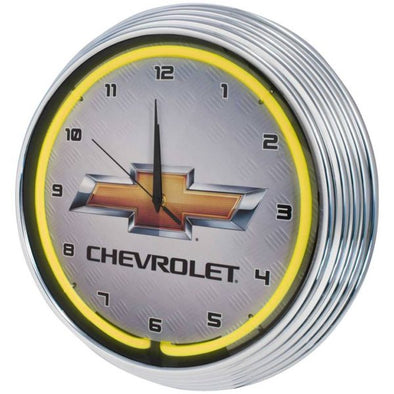 Chevrolet Gold Bowtie Yellow Neon Wall Clock