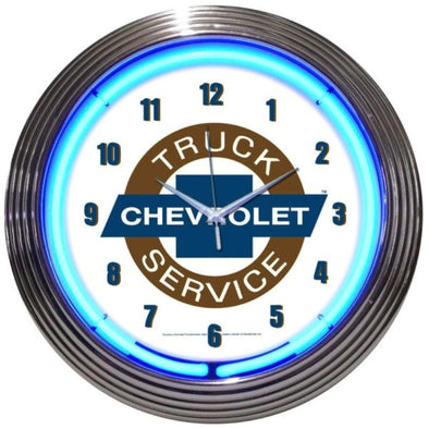 Chevy Trucks Chevrolet Service Neon Clock