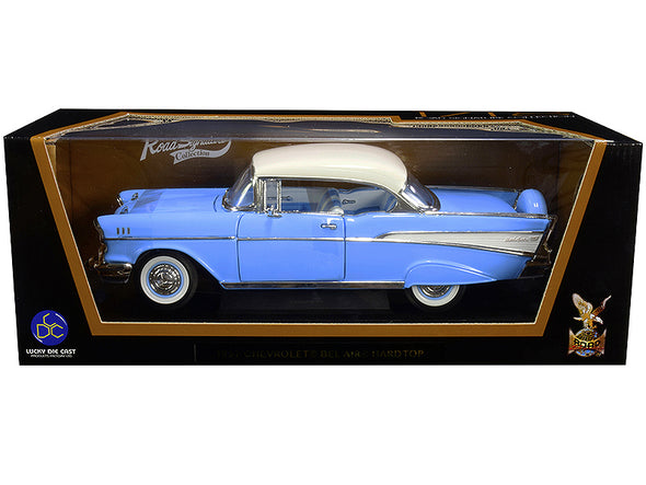 1957 Chevrolet Bel Air Hardtop Light Blue with White Top 1/18 Diecast