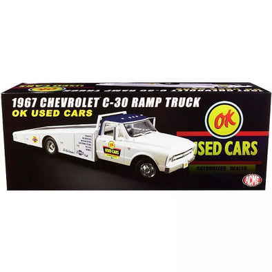 1967 Chevrolet C-30 Ramp Truck OK Used Cars White with Blue Top 1/18 Diecast