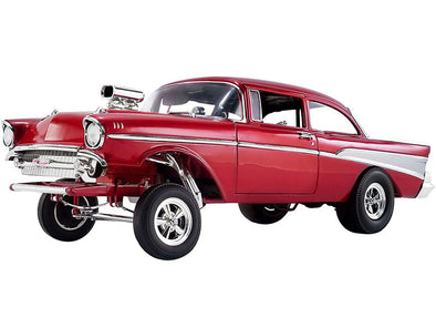 1957 Chevrolet Bel Air Gasser Rat Fink Gasser Red Metallic 1/18 Diecast