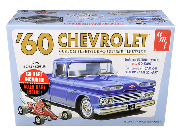Skill 2 Model Kit 1960 Chevrolet Custom Fleetside Pickup Truck w/ Go Kart 1/25 Diecast
