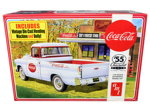 Skill 3 Model Kit 1955 Chevrolet Cameo Pickup Truck Coca-Cola -Vending Machine/ Dolly 1/25 Diecast