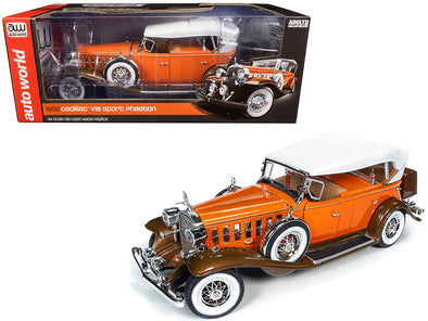 1932 Cadillac V16 Sports Phaeton Convertible Orange w/ White Top 1/18 Diecast