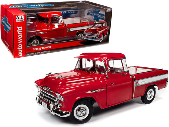 1957 Chevrolet Cameo Pickup Truck Cardinal Red and  White 1/18 Diecast