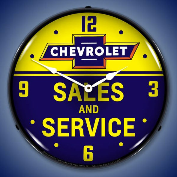 Chevrolet Bowtie Sales and Service Lighted Clock