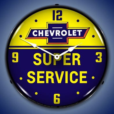 Chevrolet Bowtie Super Service Lighted Clock