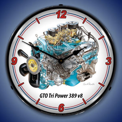 GTO Tri Power V8 Lighted Clock