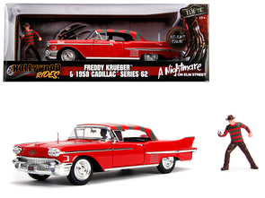 1958 Cadillac Red w/ Freddy Krueger A Nightmare on Elm St 1/24 Diecast
