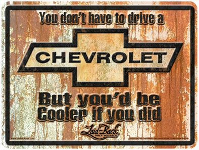 Rusty Cooler Chevy-Embossed Metal Sign