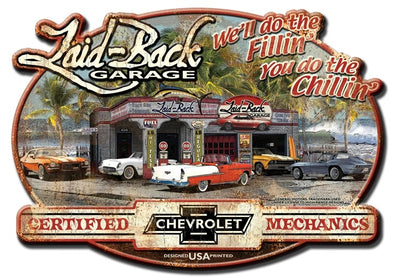 Dream Garage Chevy-Embossed Metal Sign