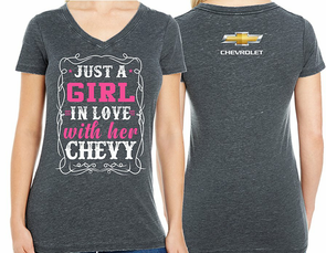Girl in Love with her Chevy Tee