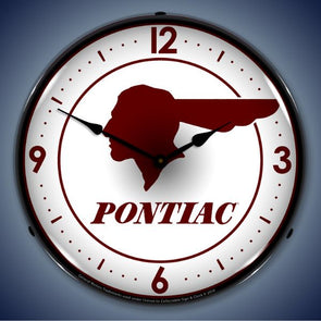 Pontiac Indian Lighted Clock
