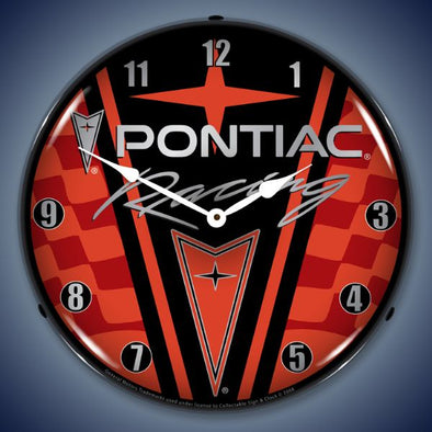 Pontiac Racing Lighted Clock