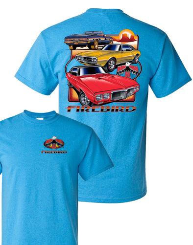 Pontiac Firebird Three Cars Blue T-Shirt