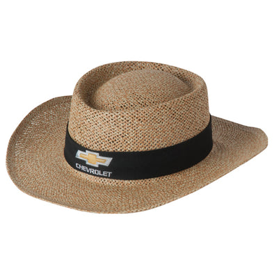 Chevrolet Gold Bowtie Natural Straw Hat