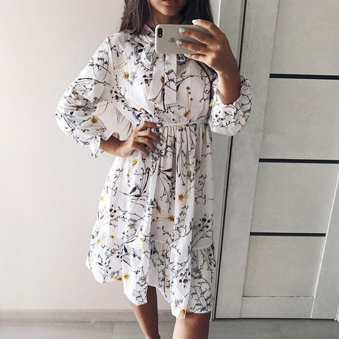 Women Full Sleeve Flower Print Dress 2019