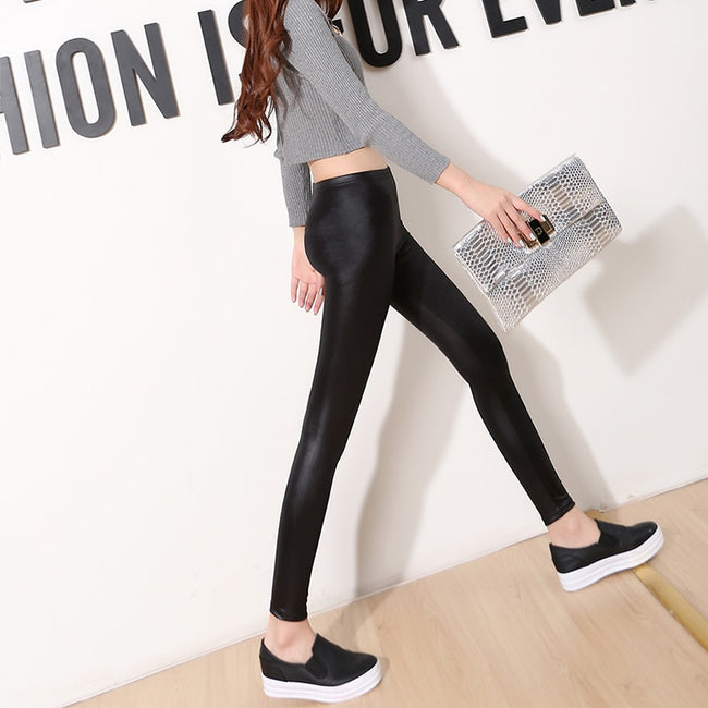 Faux Leather Sexy Thin Black Leggings 2019