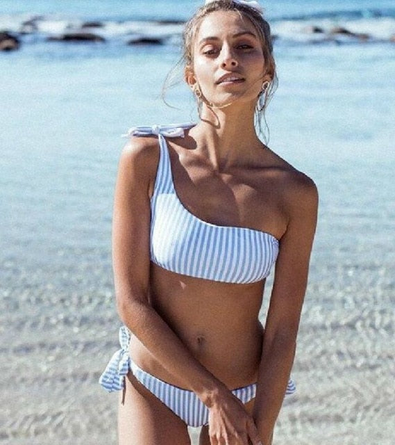 Sexy One Shoulder Bikini two pieces swimsuit | Fashion is an Art.  I have always loved fashion because it's great way to express who you are so girls follow me and Explore Your Fashion