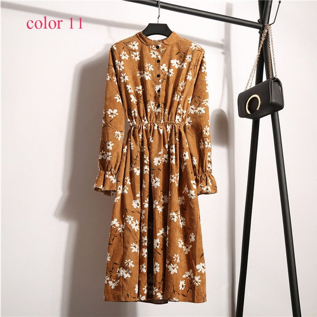 Full Sleeve Elastic Waist Vintage Dress