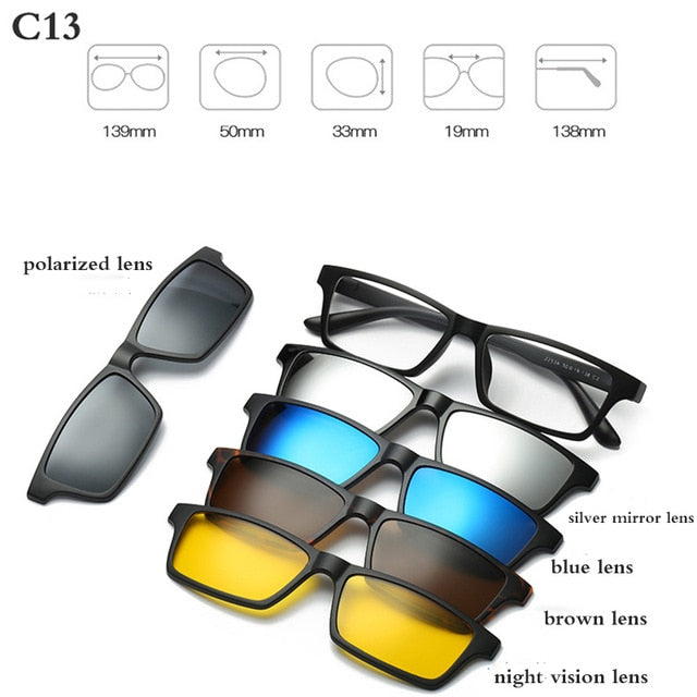 Fashion Optical Spectacle Frame Men Women With 5 Clip On Sunglasses - exploreyourfashion