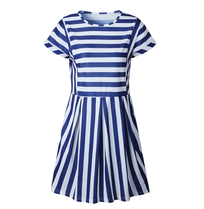 A-Line Striped Short Sleeve dress 2019