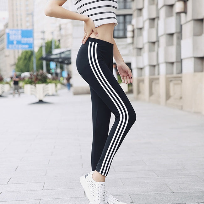 Cotton Striped High Waist  Leggings