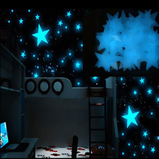 Kids Bedroom Fluorescent Glow In The Dark Stars Stickers