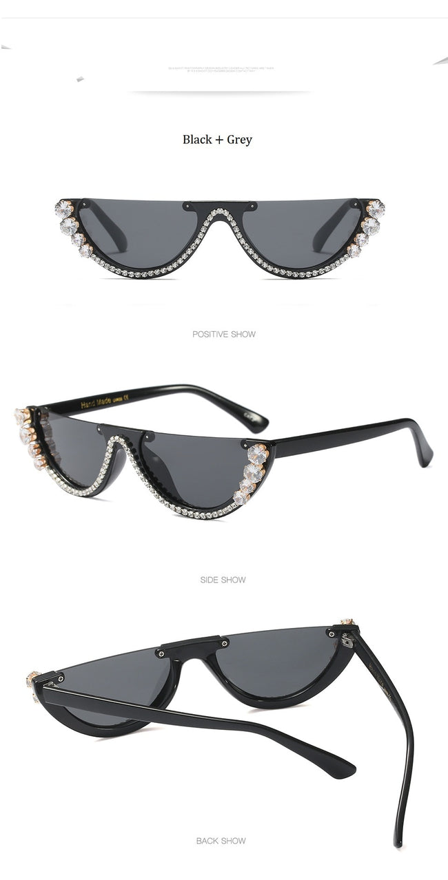 Cat Eye Sunglasses Women Luxury Brand glasses Metal jewel with Rhinestone Decoration