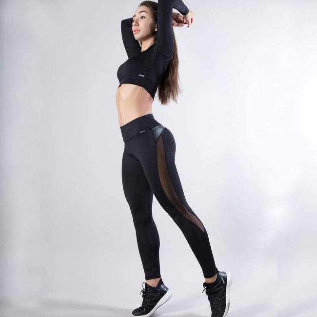 Leather Black Mesh Splice Leggings 2019 | Fashion is an Art.  I have always loved fashion because it's great way to express who you are so girls follow me and Explore Your Fashion
