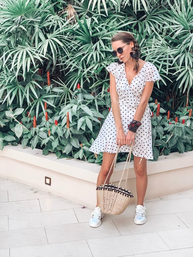 Summer Polka Dot Wrapped Dress