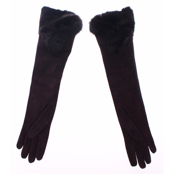 Purple Mink Fur Goatskin Suede Leather Gloves
